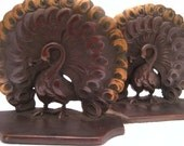 Vintage Bronze Peacock Bookends