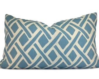 Blue & White Trellis Pillow Cover - Kravet Treads River Lumbar Pillow - Decorative Pillow - Accent Pillow - Throw Pillow