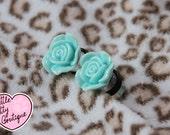 6mm - 16mm Baby Green Vintage Rose Custom Plugs