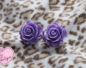 12mm - 20mm Lovely Purple Rose Plugs For Stretched Ears