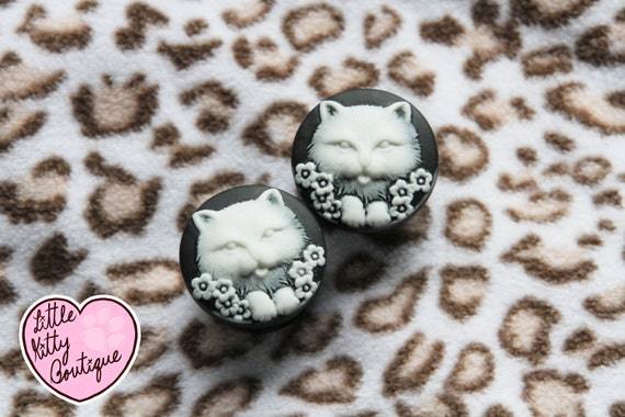 12mm - 24mm Black Vintage Cat And Flower Custom Plugs For Stretched Ears