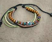 Leather Bracelet or Anklet with Glass Tribal Bead