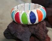 Beaded Ivory Stone Bracelet Elastic Stretch of Colorful Beaded Stones of Ivory
