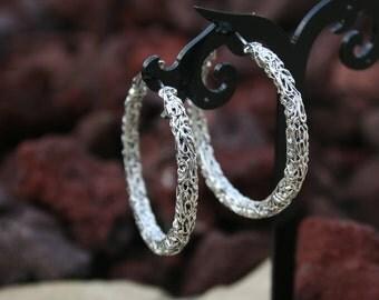 Bohemian Chic Silver Hoop Earrings Scrolled Textured