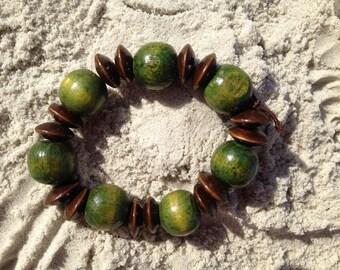 Wood Green and Brown Bead Bracelet ~ Free Ship USA!:)