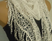 White Scarf-Shawl- Tassel-Lace Edge-2012 Fashion-Turkish Style-Yemeni Style-Turkish Traditional Scarf