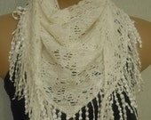 BIG Sale-  WAS 18- Now 12.90 USD -   Ivory Scarf-Lace Edge-Shawl-2012 Fashion--Yemeni Style-Turkish Traditional Scarf