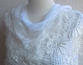 White Scarf-SHAWL--Lace- Edge-Elegance-With