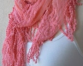 Pink Scarf, Scarf,Elegance,with,Lace,Edge