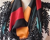 Black With Orange and Fuchsia Geometric Patterns Lace Scarf,Very Chic, For Elegant Women