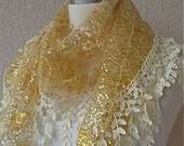 Lacy and Scaly Yellow Shawl,Scarf for Woman, Fashion,2012 Trend, Turkish Traditional Best Gift for Mothers Day or  another special day