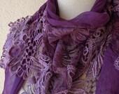 Purple-Lila Scarf-SHAWL- Tassel-Lace Edge-2012 Fashion-Turkish Style-Turkish Traditional Scarf