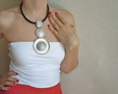 Ottoman Drops and Round Design Metal Necklace-With Leather Cord-Fashion Jewelry-2012 Trends-Fashion All Season