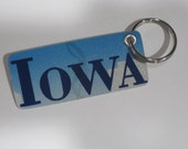 IOWA License Plate Keychain - Upcycled from actual Iowa license plate
