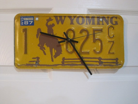 Wyoming License Plate Wall Clock - WY