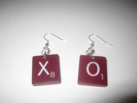 Deluxe Edition Scrabble Tile Earrings - XO Hugs and Kisses