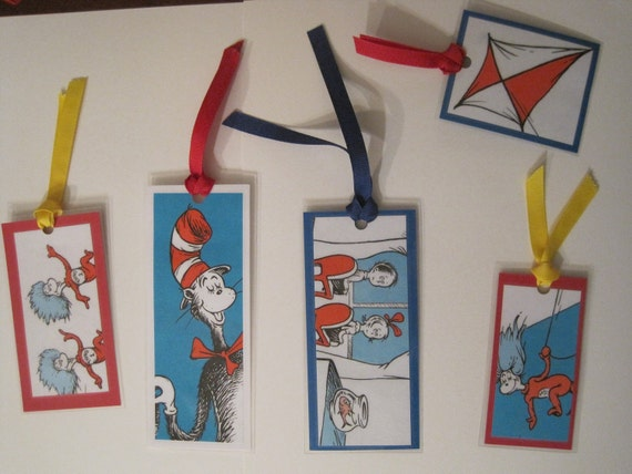 Set of 5 - Dr. Seuss Upcycled Bookmarks - All from Cat in the Hat