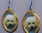 Bichon Frise Dog Love Earrings