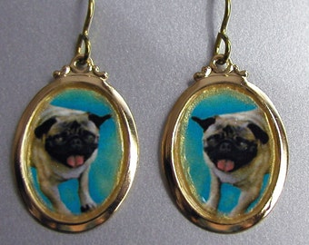 PUG Dog Love Earrings Custom Available