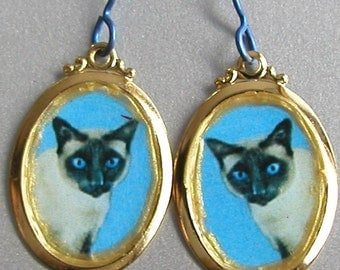 SIAMESE CAT  Love Earrings