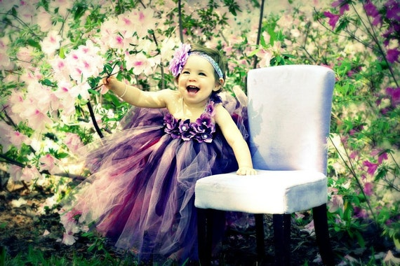 Purple pearl flower girl tutu dress, Size up to 2T, purple tutu dress, flower girl dress, tutu dress