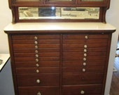 Amazing Antique DENTAL CABINET - early 1900's mahogany with milk glass accents