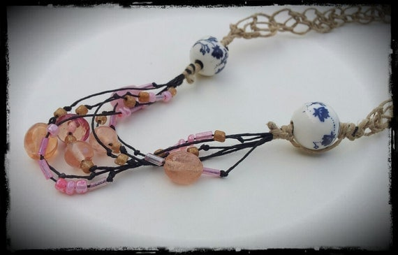 Mosaic Hemp Necklace with Pink beads