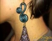 earrings in polymer clay with swarovski - orecchini in fimo con swarovski