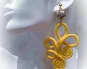 Yellow polymer clay earrings
