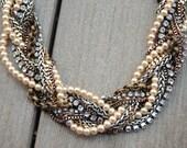 Chunky Statement Necklace Bib Statement Metal Pearl - Twisted Braid