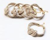 Set of 5: Bridesmaid Gift Set 5 -  Beige silk cord Knot Bracelet - 24k gold plated
