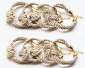 bridesmaid gift - Knot Bracelet Set of 8 - Beige silk cord Knot Bracelet - 24k gold plated