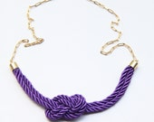 Purple Silk Knot Necklace - 24k gold plated - Bridesmaid Wedding gift