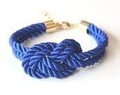 Arm Candy - True Blue silk Knot Bracelet - raided Bracelet Set, Festival Accessories, Knotted Jewelry, Bracelet Stack