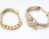 Beige and Gold chunky chain and Knot Silk Bracelet set