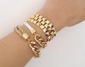 Arm party - Chunky Chain Bracelets Set - White and beige - 24k gold plated