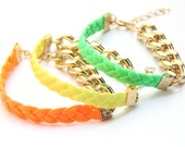 ON SALE: Arm Candy - Gold chunky chain with neon leather braid Bracelet - 24k gold plated