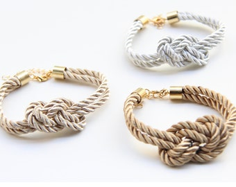 ON SALE! Bridesmaid Wedding Set of 3 - White, Brown and beige silk Knot Bracelet - 24k gold plated