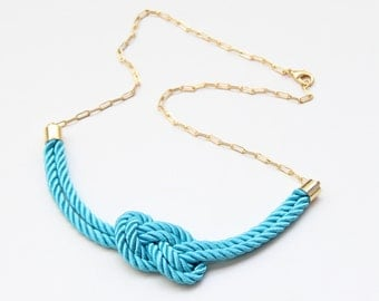 Turquoise silk knot necklace - 24k gold plated - Bridesmaid Wedding gift