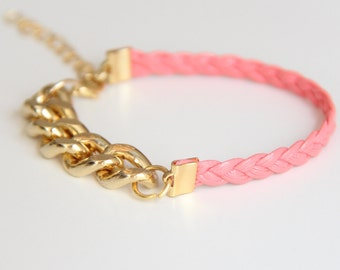 ON SALE: Arm Candy - Gold chunky chain with pink leather braid Bracelet - 24k gold plated