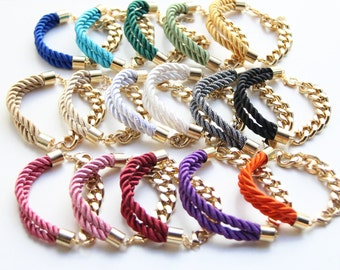 Arm candy - set of 3 Half and Half: Gold chunky chain and Silk Bracelet