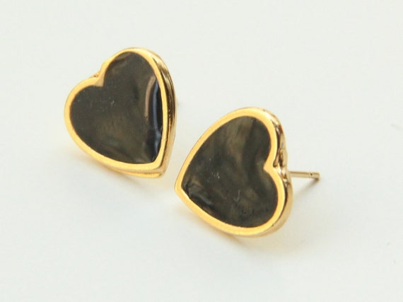 ON SALE: Heart stud Earrings - Gold and black heart Small Stud Earrings, Small gold post earrings