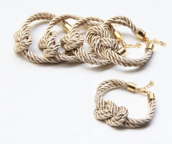 Set of 5: Bridesmaid Gift Set 5 -  Beige silk cord Knot Bracelet - 24k gold plated