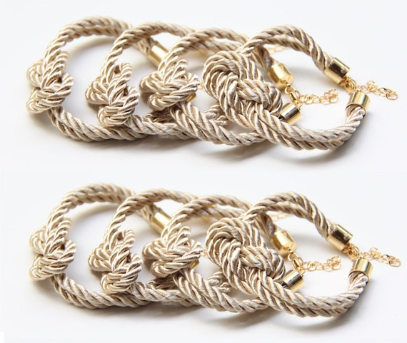bridesmaid gift - Knot Bracelet Set of 8 - Beige silk cord Knot Bracelet - 24k gold plated