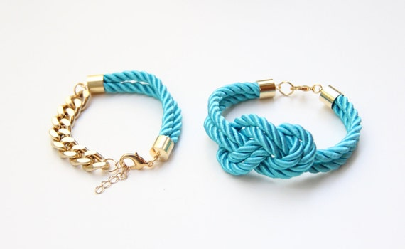 Turquoise and Gold chunky chain and Knot Silk Bracelet set