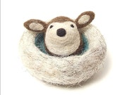 Deer toy, wool nest, felt deer, natural toy, needle felted animal, eco friendly childrens toy - made to order