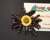 Hair Clip - Brown Satin Ribbon Spirals - Yellow and Brown Sunflower
