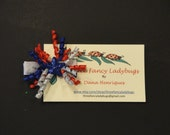 Hair Clip - Patriotic - Red, White, Blue - Silver - Blue Star