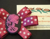 Hair Clip - Skeleton Cameo - Pink and White Bow