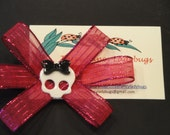 Hair Clip - Pink Bow - Skeleton